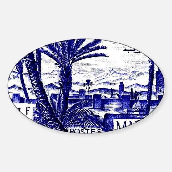 1947 Morocco Marrakesh Postage Stam Sticker (Oval)