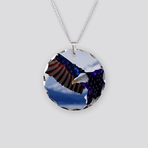 All American Eagle Necklace Circle Charm