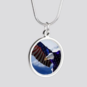 All American Eagle Silver Round Necklace