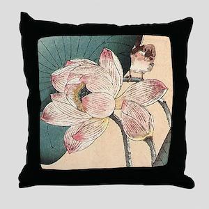 Botanical Lotus Flower Throw Pillow