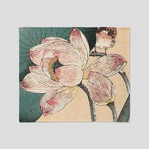 Botanical Lotus Flower Throw Blanket