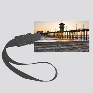 HDR Huntington Beach Pier at Sun Large Luggage Tag