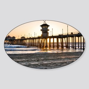 HDR Huntington Beach Pier at Sunset Sticker (Oval)