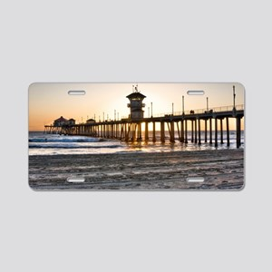 HDR Huntington Beach Pier a Aluminum License Plate