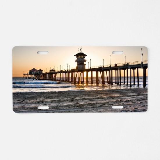 HDR Huntington Beach Pier a Aluminum License Plate
