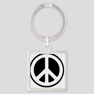 World Peace Symbol Square Keychain