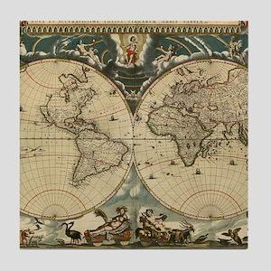 17th century world map Tile Coaster