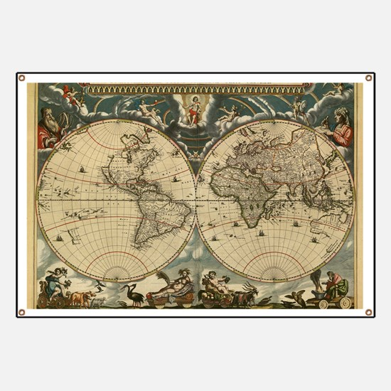 17th century world map Banner