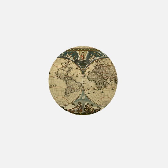 17th century world map Mini Button