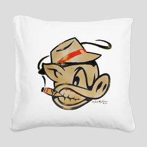 Smokin Pig by Elliott Mattice Square Canvas Pillow