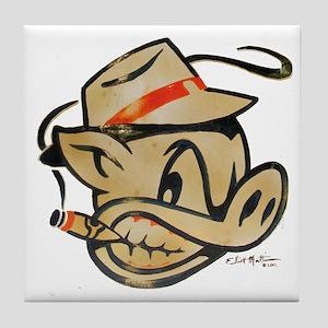 Smokin Pig by Elliott Mattice Tile Coaster