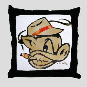 Smokin Pig by Elliott Mattice Throw Pillow