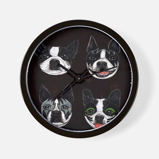 Boston Terriers as KISS Slobbery Wall Clock