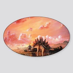 Artwork of Stegosaurus dinosaurs Sticker (Oval)