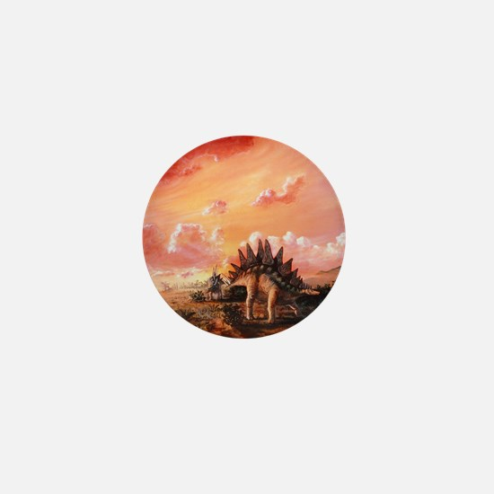 Artwork of Stegosaurus dinosaurs Mini Button