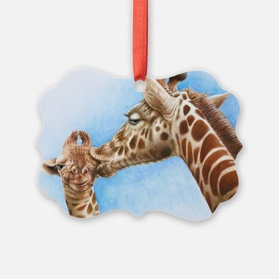 Giraffe and Calf Large Framed Pri Ornament