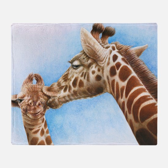 Giraffe and Calf Large Framed Print Throw Blanket