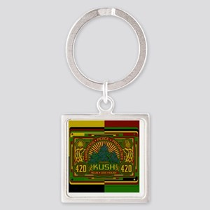 Kush 420 Shower Curtain Square Keychain