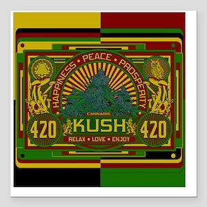 """Kush 420 Shower Curtain Square Car Magnet 3"""" x 3"""""""