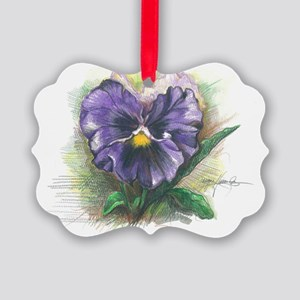 Purple pansy Picture Ornament
