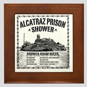 Alcatraz Shower Curtain Framed Tile