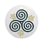 Turquoise Triple Spiral-Holly-Snowflakes Ornament