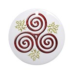Red Triple Spiral-Green Holly Ornament (Round)