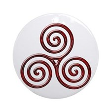 Red Triple Spiral-plain Ornament (Round)