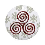 Red Triple Spiral on Green Snowflakes Ornament (Ro