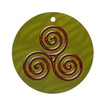 Red Triple Spiral on Green Ornament (Round)
