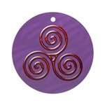 Red Triple Spiral on Purple Ornament (Round)