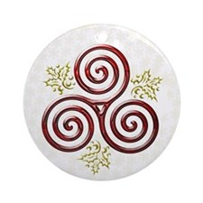 Red Triple Spiral on White Gold Snow Flakes Orname