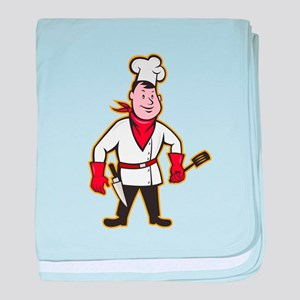Chef Cook Standing Holding Spatula baby blanket
