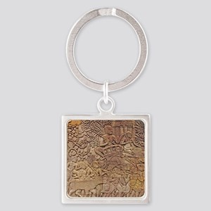 Bas-relief Square Keychain