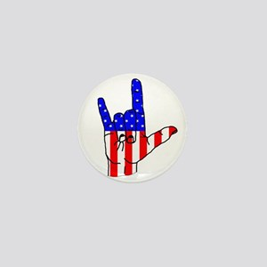 I Love USA Sign Language hand Mini Button