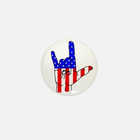 I Love USA Sign Language hand Mini Button
