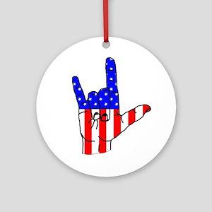 I Love USA Sign Language hand Ornament (Round)