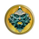 Green Man in Gold Frame - 1 - Ornament (Round)