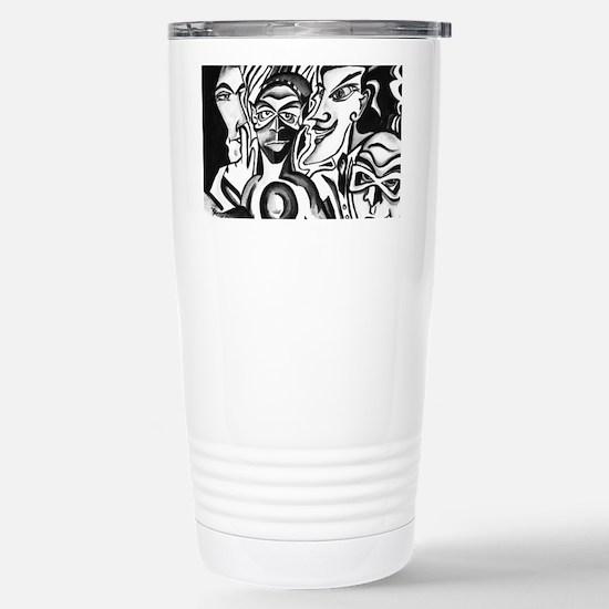 Black and White Comic R Stainless Steel Travel Mug