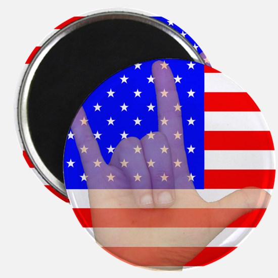 Flag and ASL ILY Hand Magnet