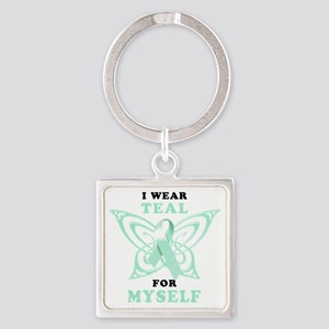 I Wear Teal for Myself Square Keychain