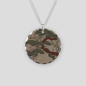 Japanese Bonsai Pine Necklace Circle Charm