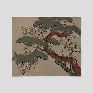 Japanese Bonsai Pine Throw Blanket