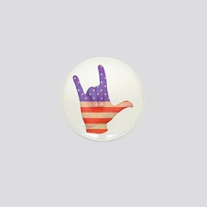 USA Flag ILY sign language hand Mini Button