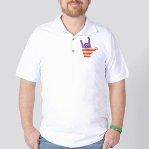 USA Flag ILY sign language hand Golf Shirt