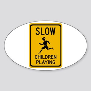 Slow, Children Playing - USA Oval Sticker