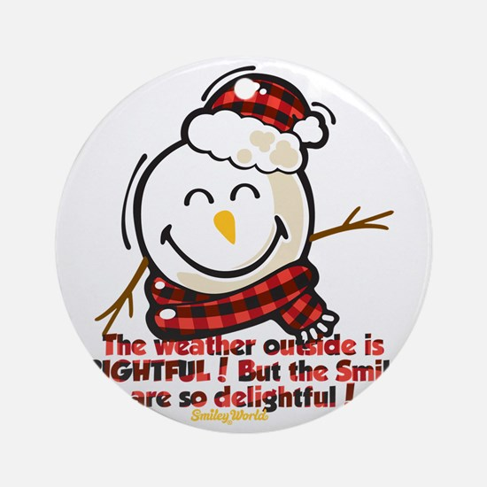 Snow Man Smiley Round Ornament