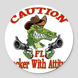 Florida Cracker With Attitude Round Car Magnet