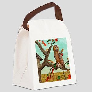 Autumn Owl Canvas Lunch Bag