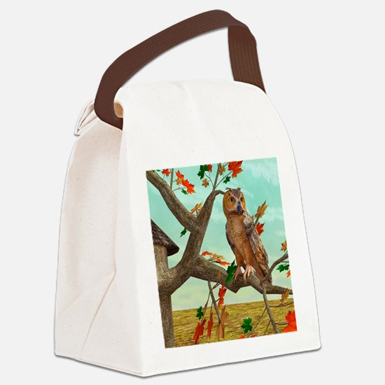 Autumn Owl Canvas Lunch Bag